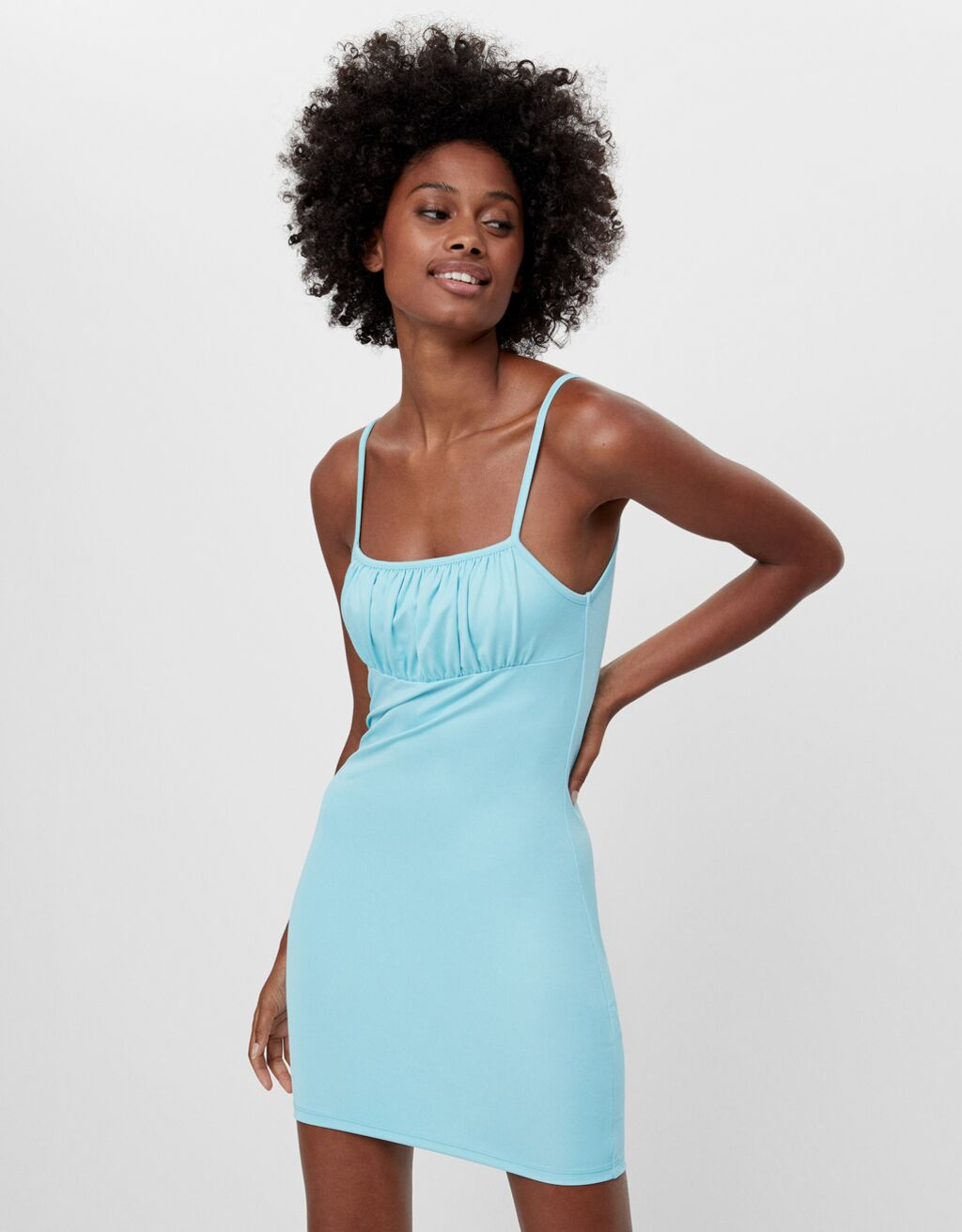 Short dress with a gathered neckline