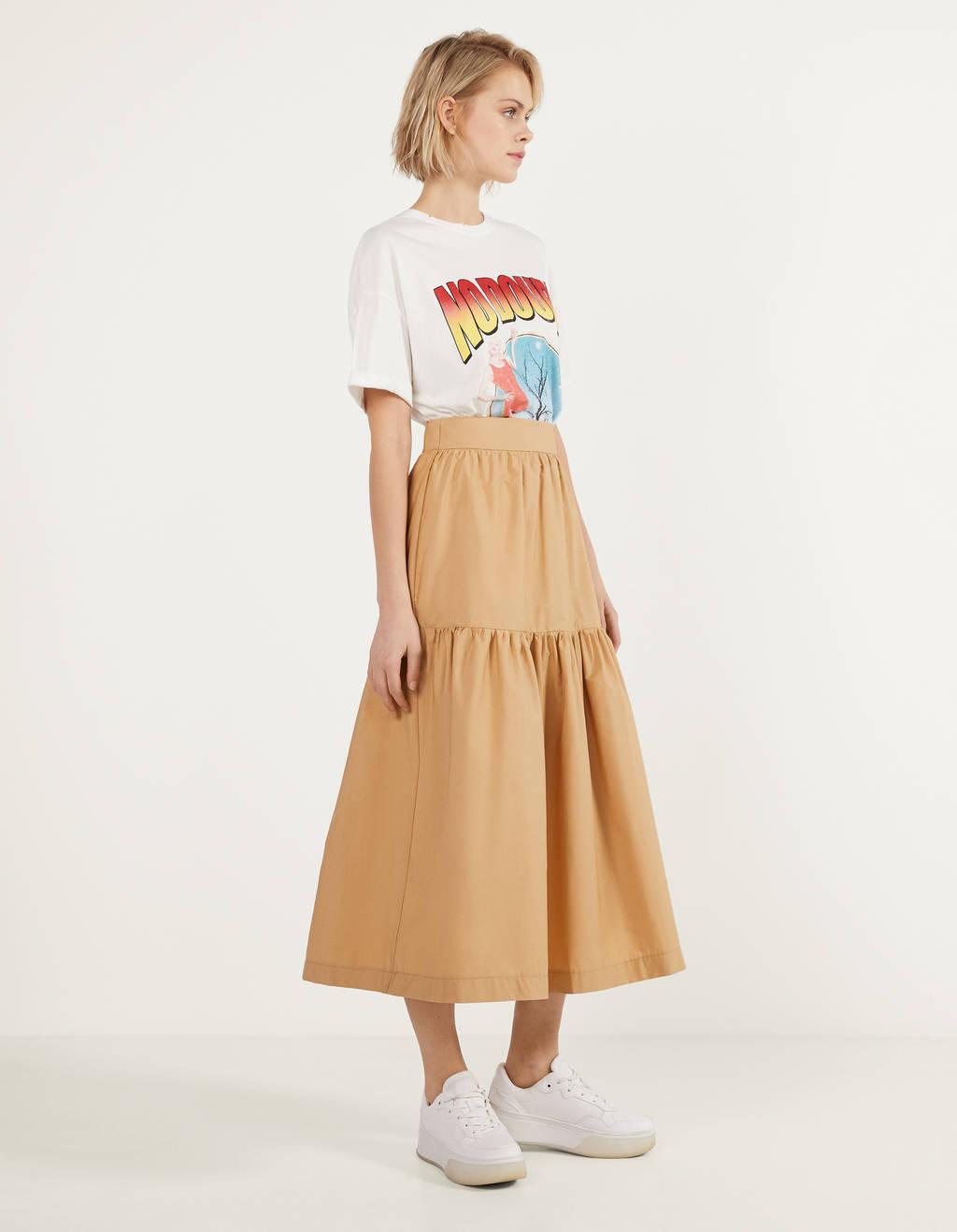 Long poplin skirt