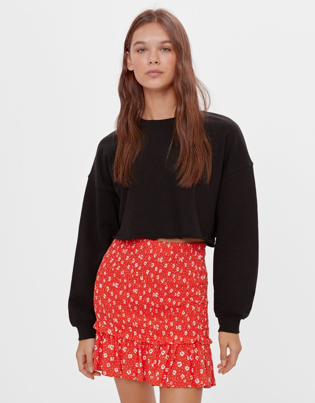 Printed skirt with shirring