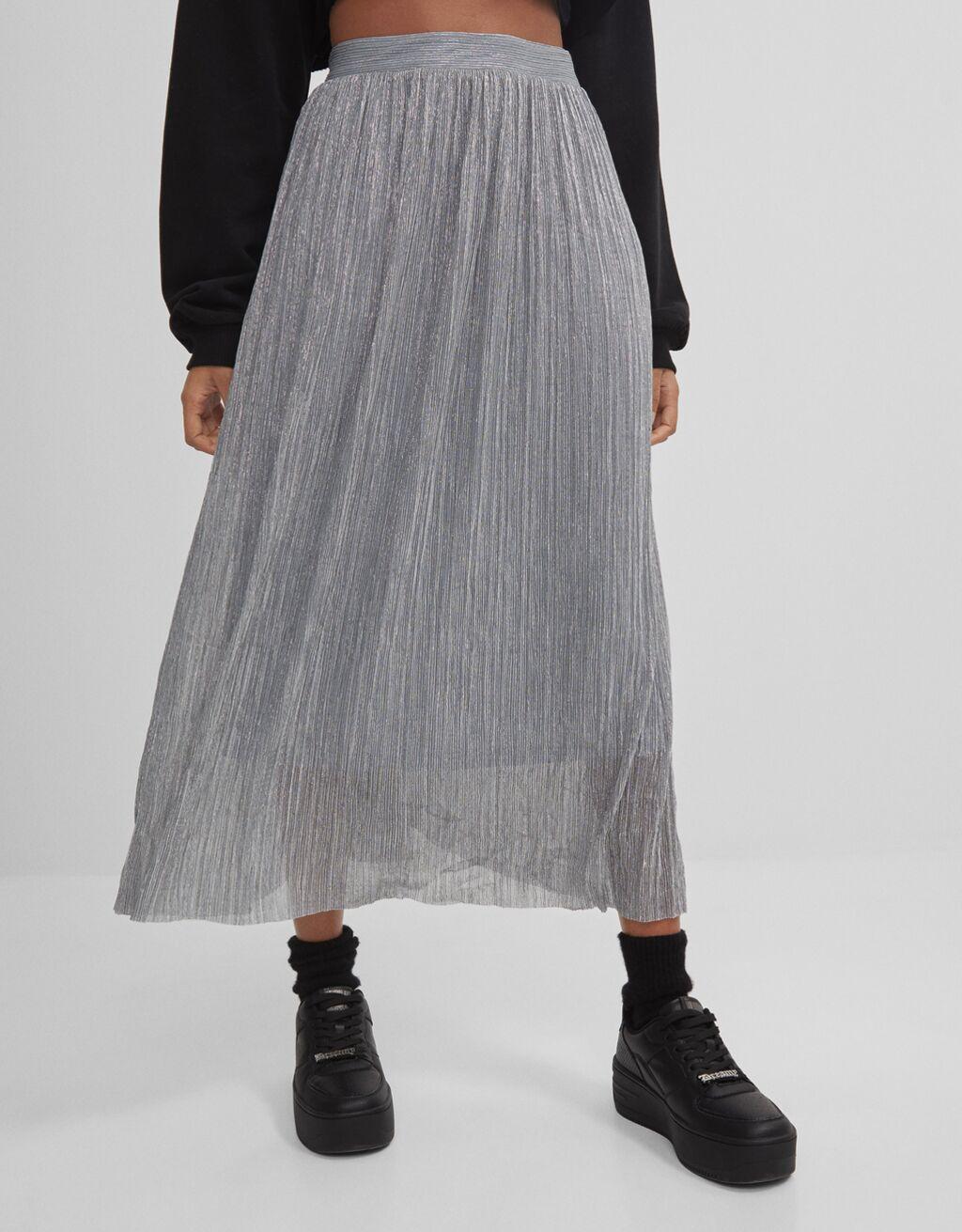 Metallic thread midi skirt