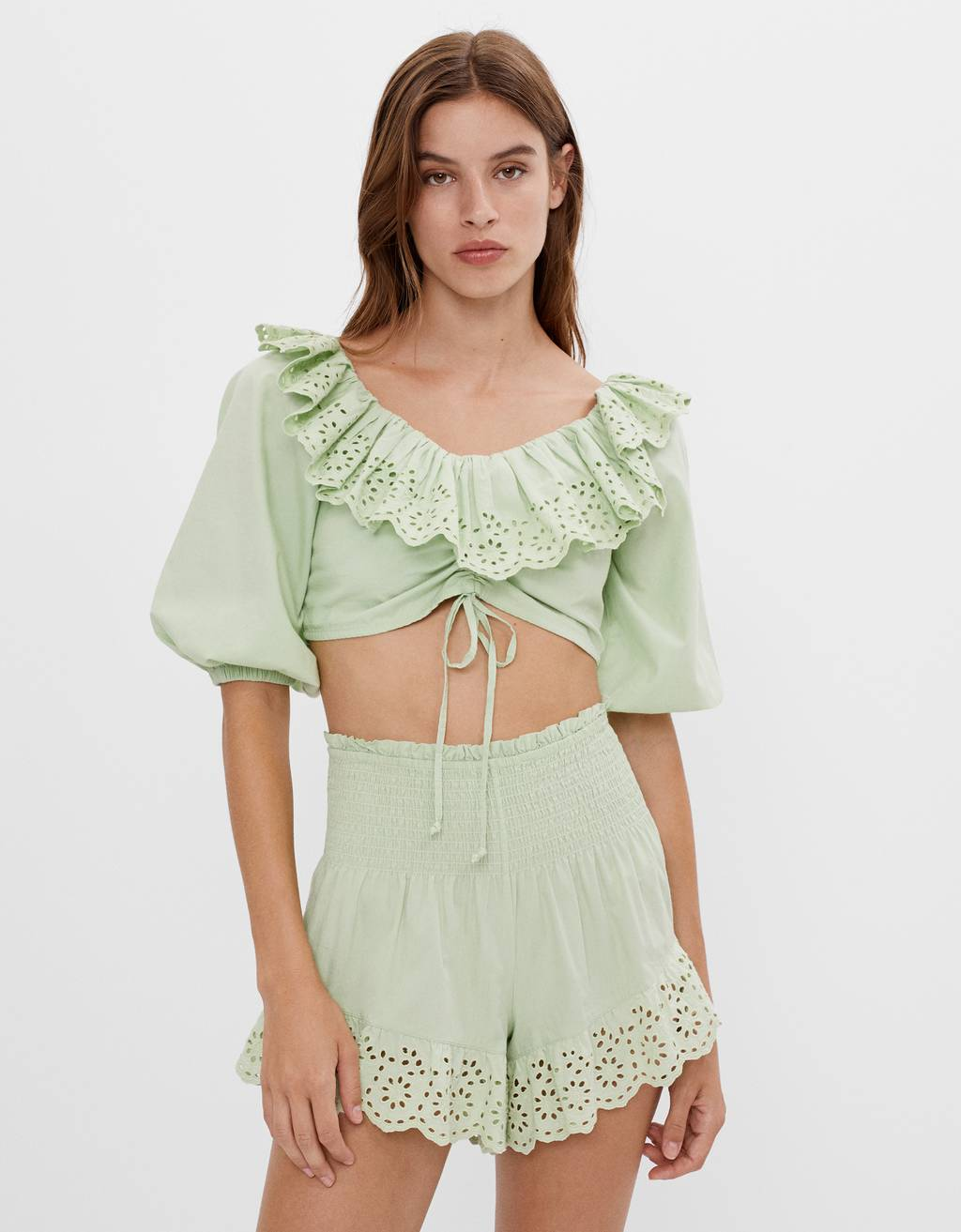 Blouse with embroidered ruffle
