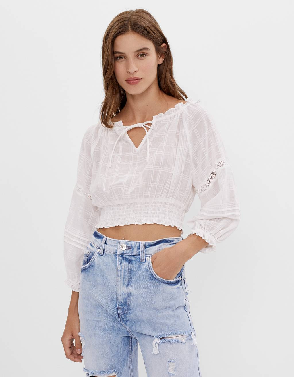 Off-the-shoulder blouse with ties