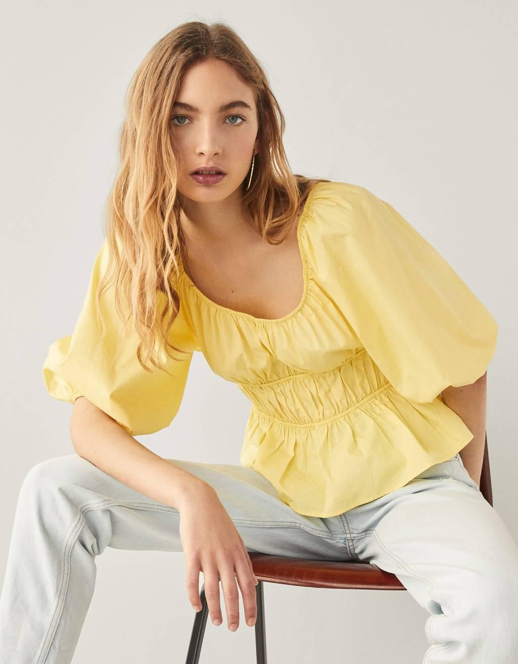 Gathered poplin blouse