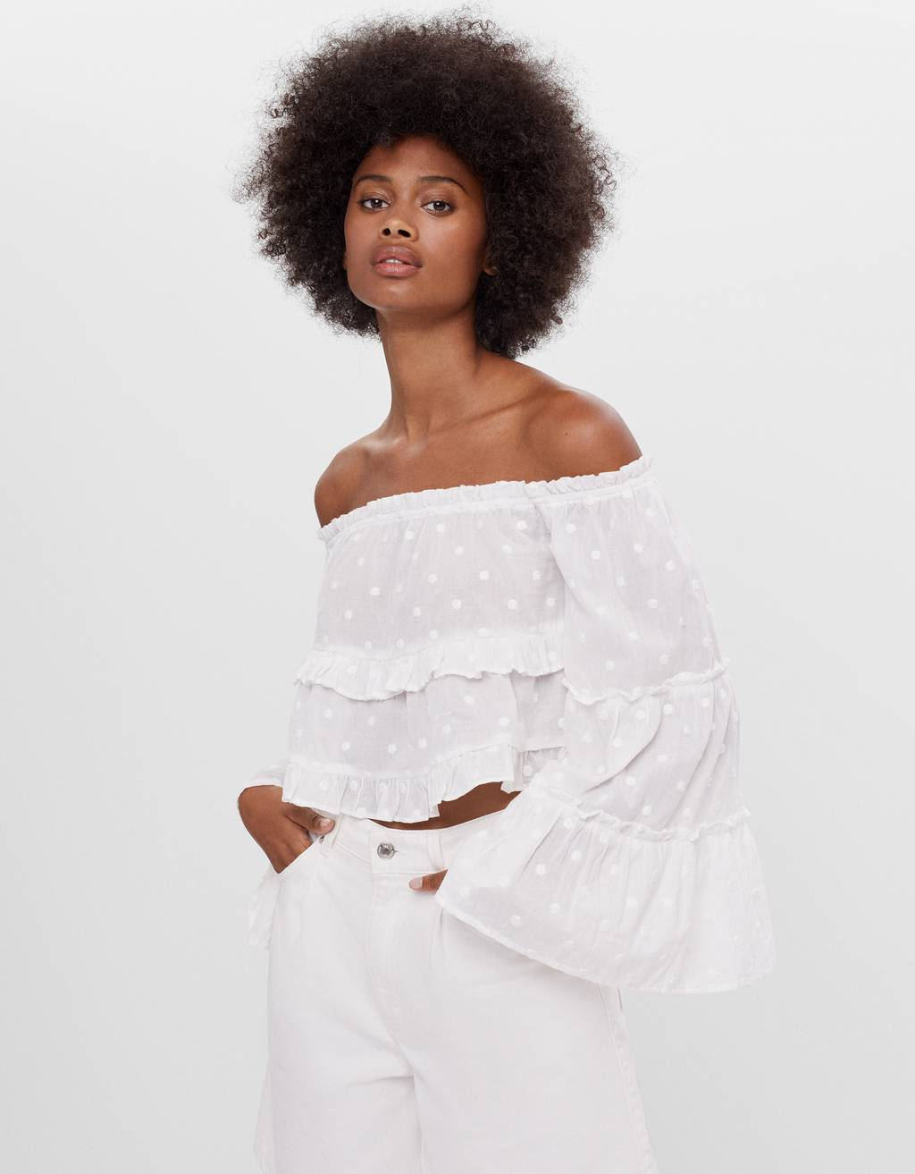 Blouse with cape sleeves and frills