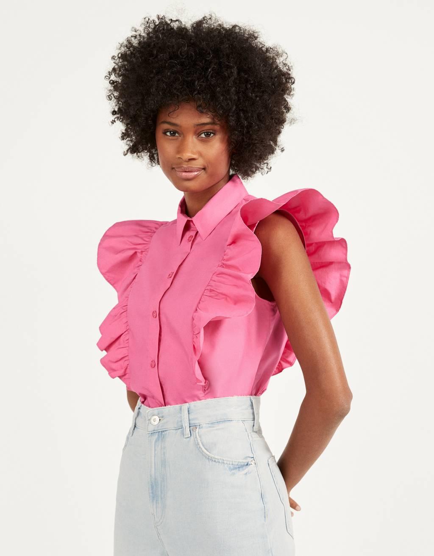 Poplin shirt with ruffle trims