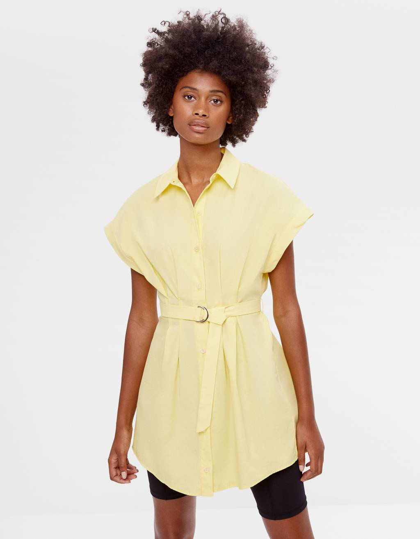 Belted poplin shirt