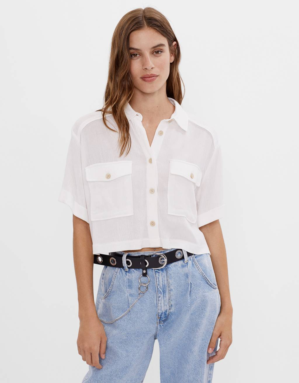 Camisa cropped Utility