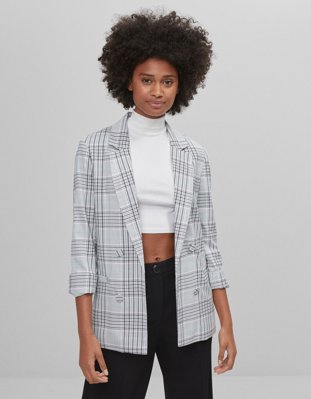 Roll-up sleeve blazer