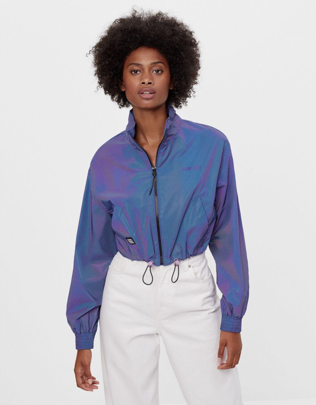 Reflective cropped jacket