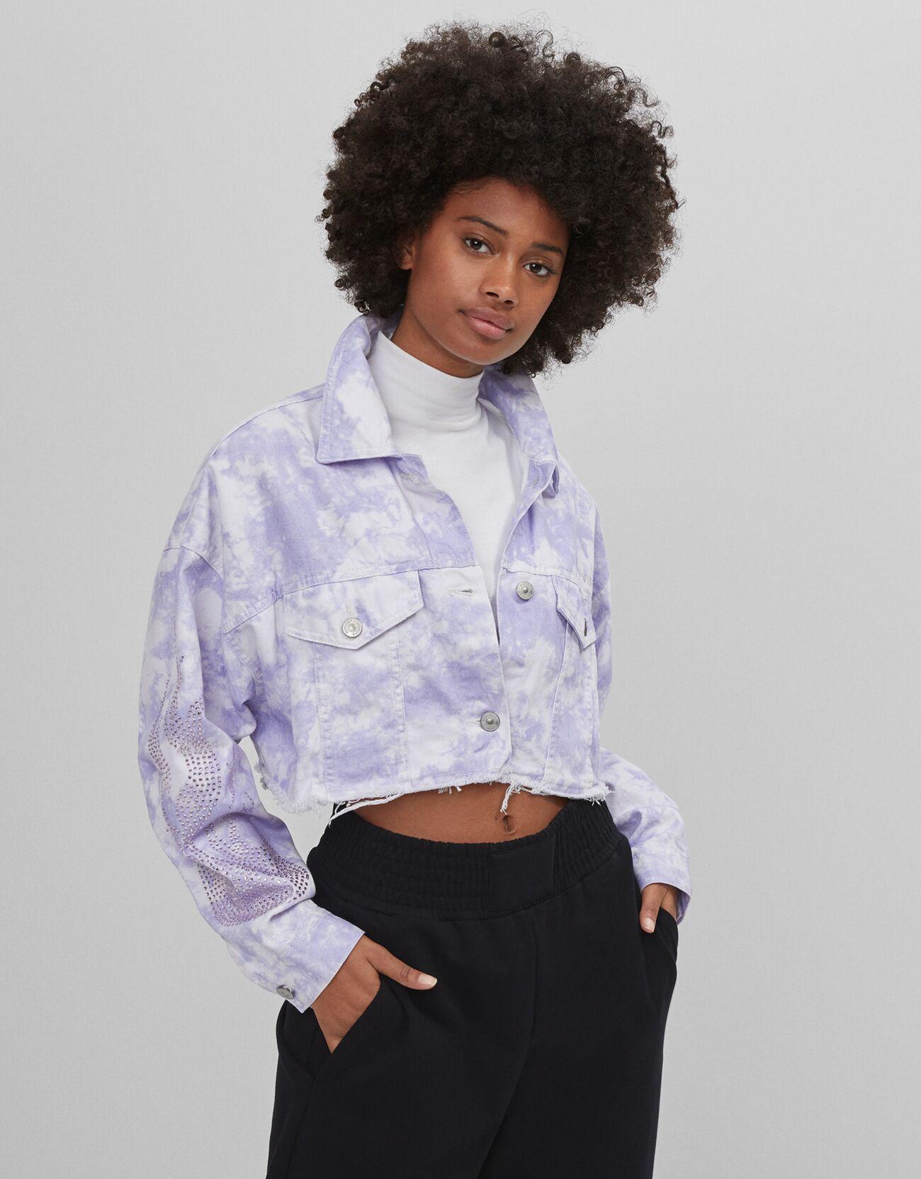 bershka - Cropped-Jacke mit Tie-Dye-Print