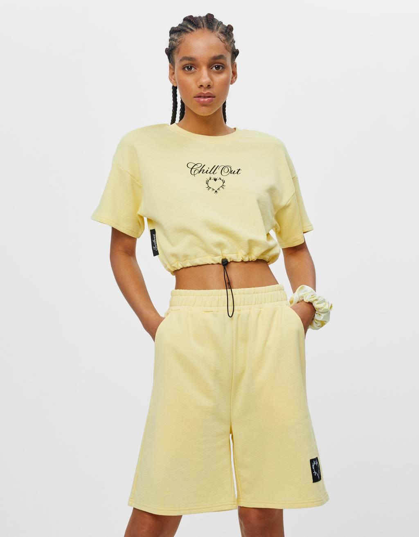 Shirt aus Plüschgewebe mit Print