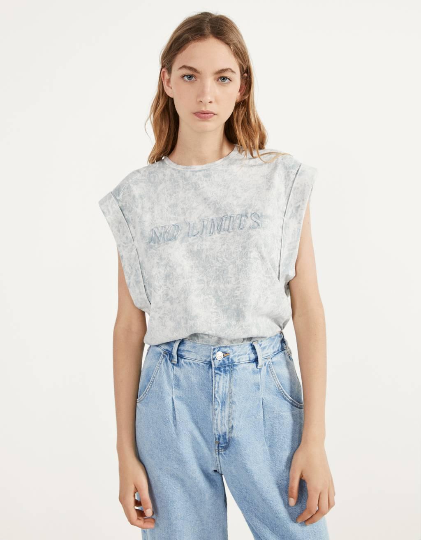 T-shirt with an acid wash print
