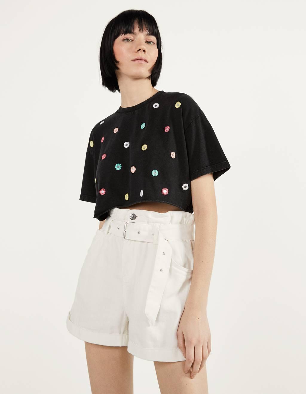 T-shirt court à paillettes