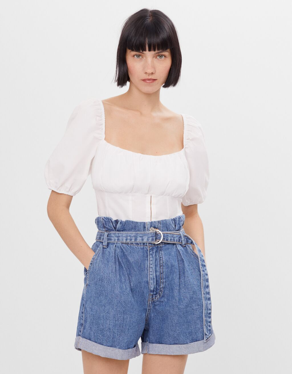 Denim paperbag shorts with buckle