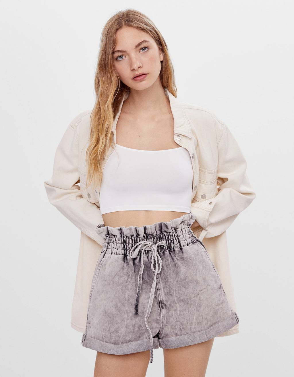 Denim paperbag shorts with ties