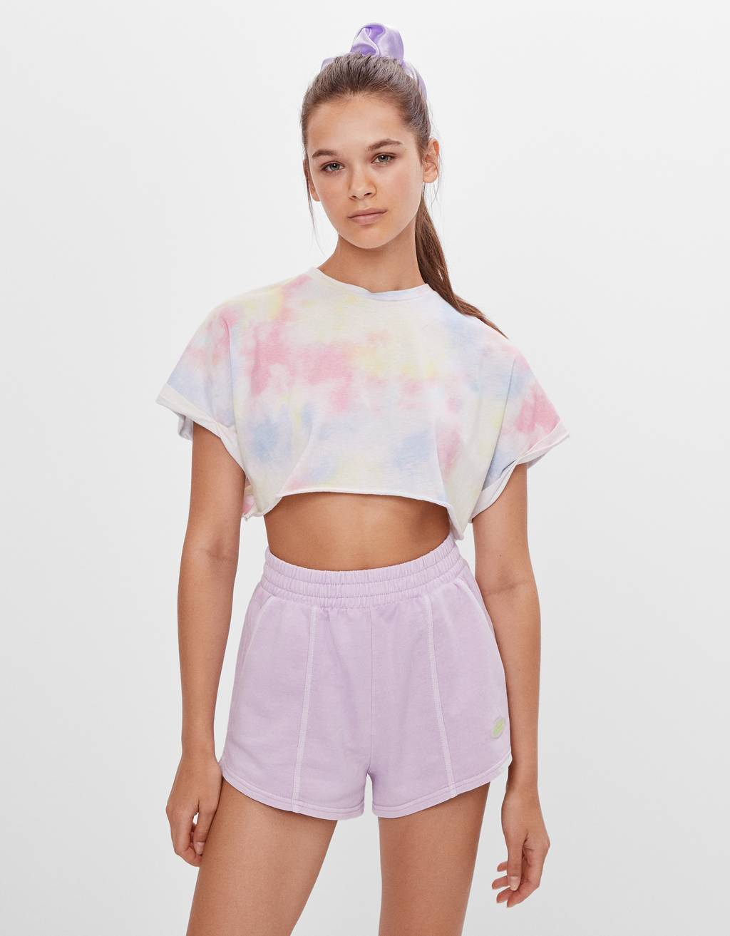 Faded-effect plush shorts