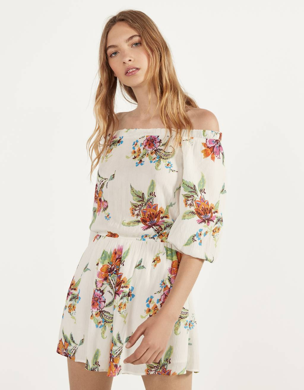 Short off-the-shoulder jumpsuit