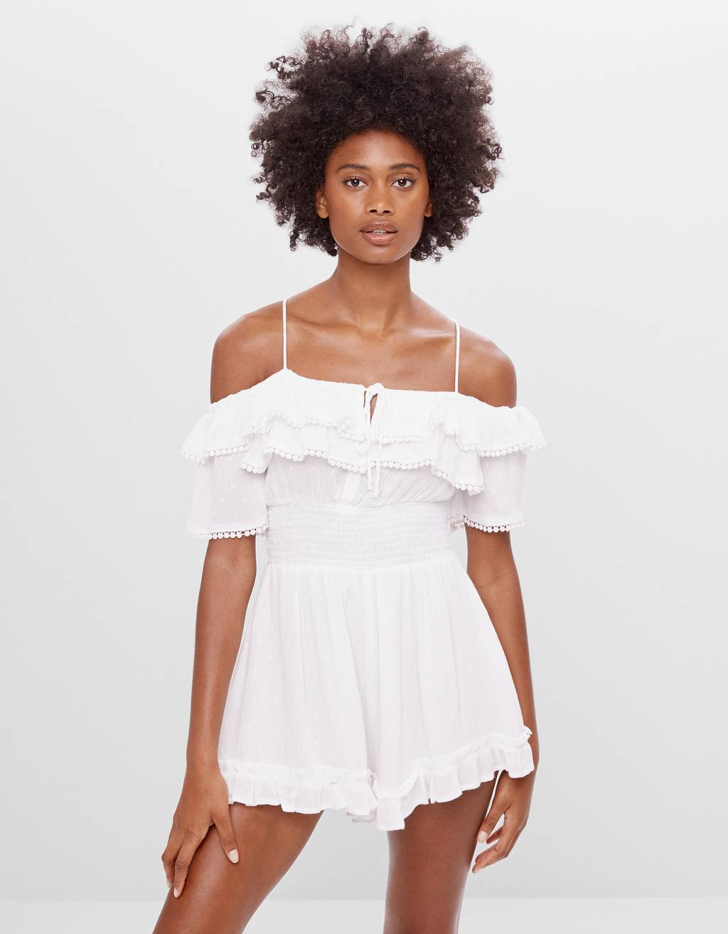 Embroidered playsuit with ruffles