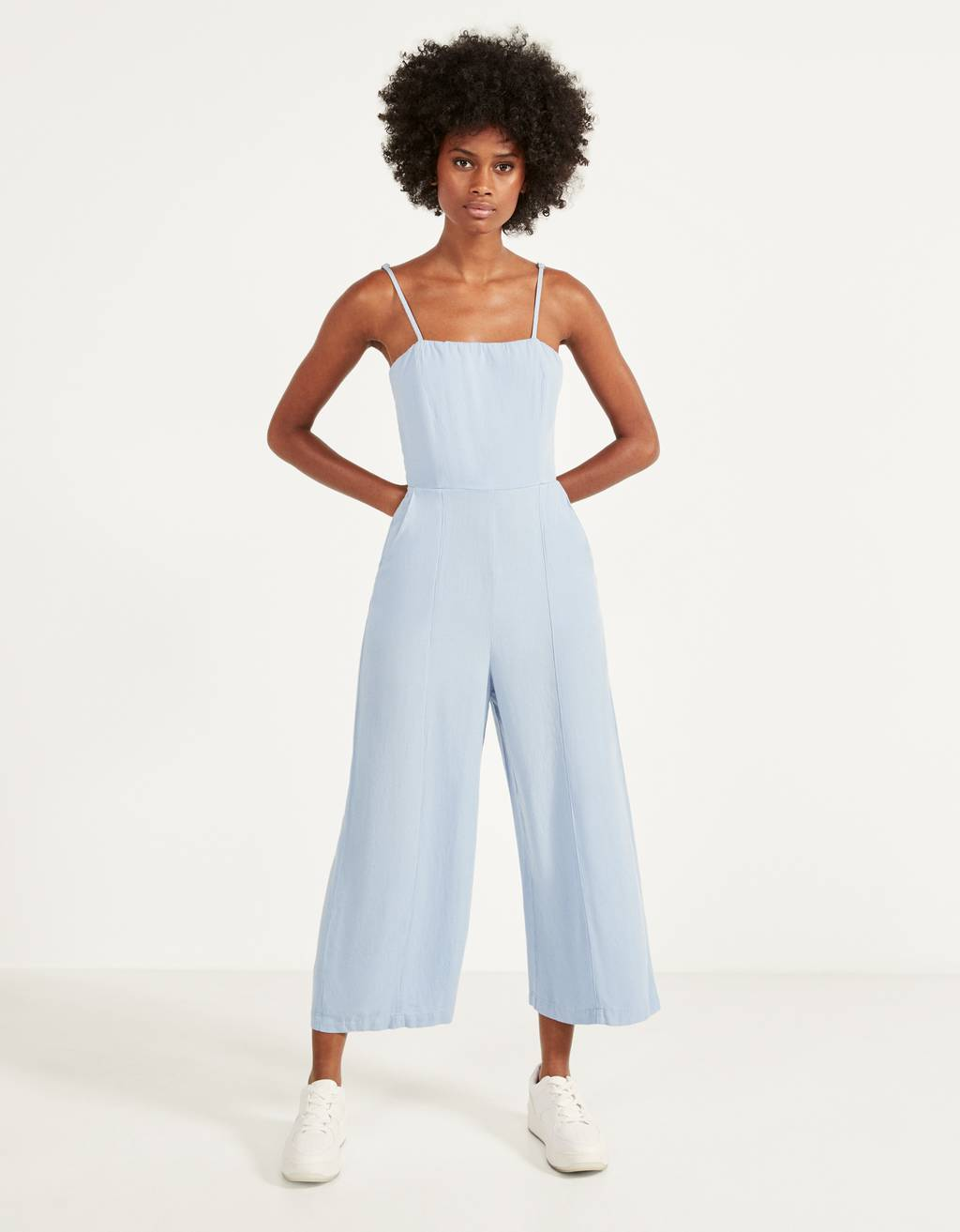 Tie-up linen jumpsuit