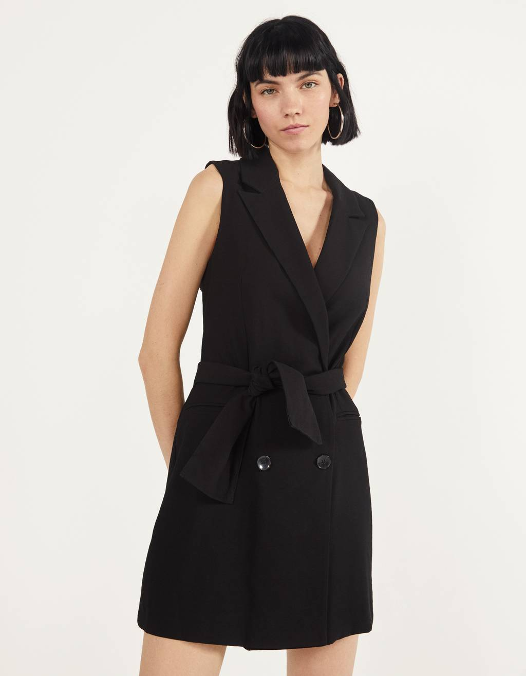 Blazer-style gilet with a belt