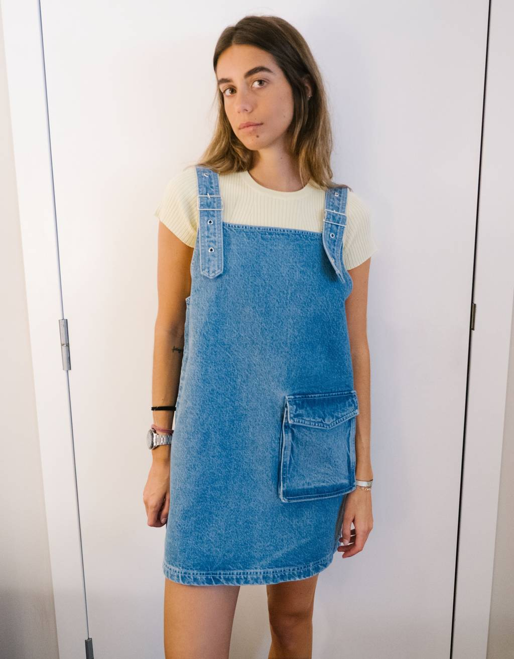 Strappy denim pinafore dress