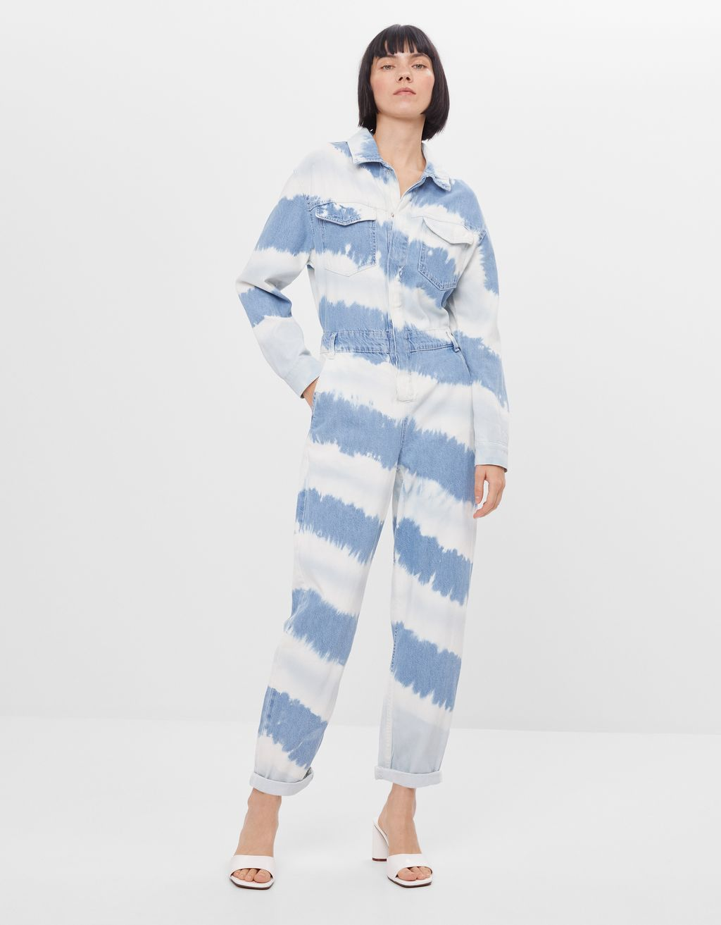 Denim tie-dye jumpsuit
