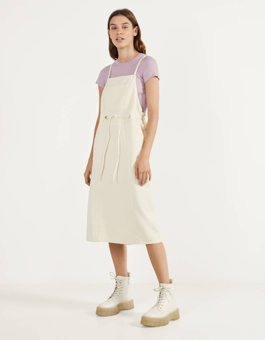 Pinafore dress with thin straps