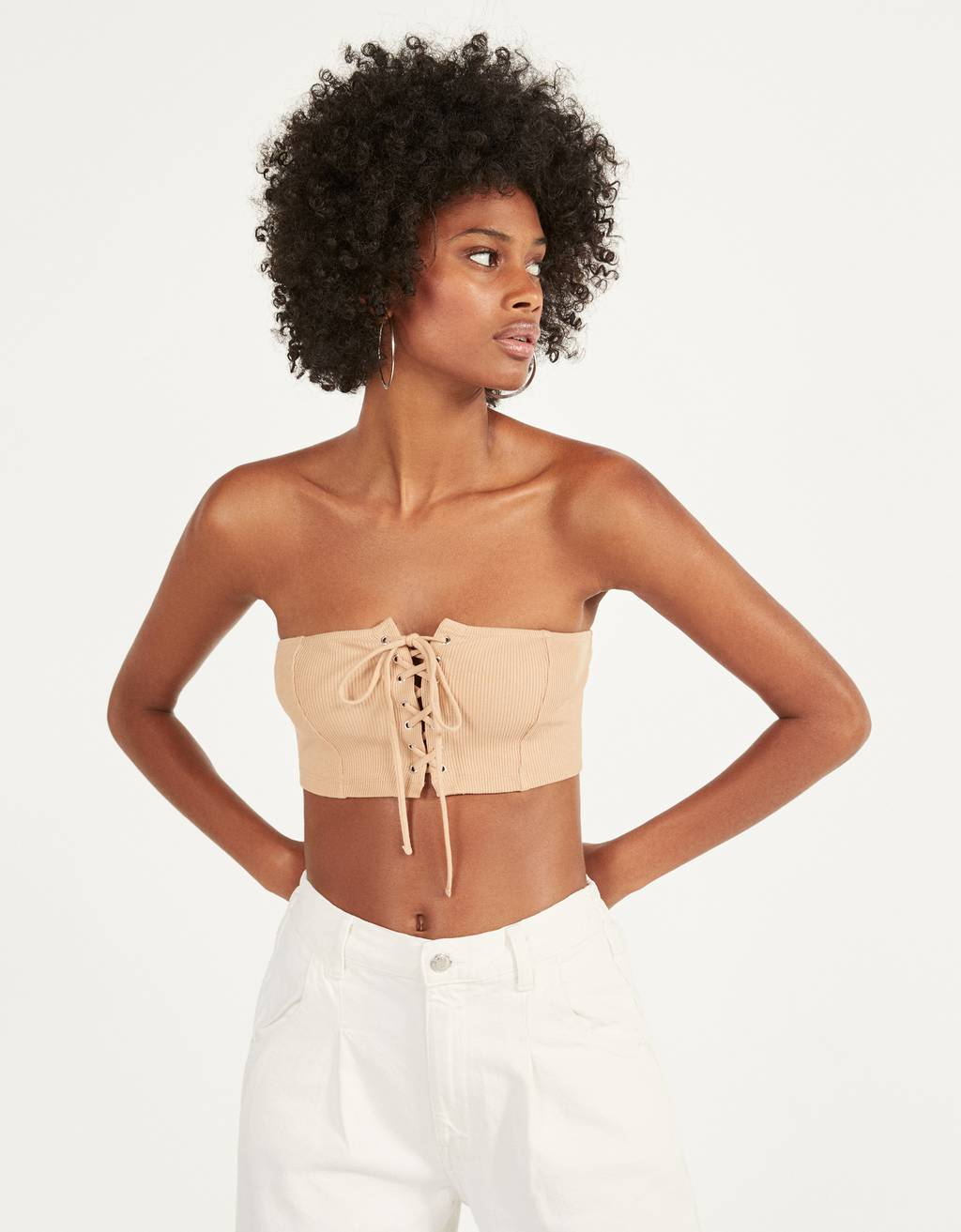 Lace-up bandeau top