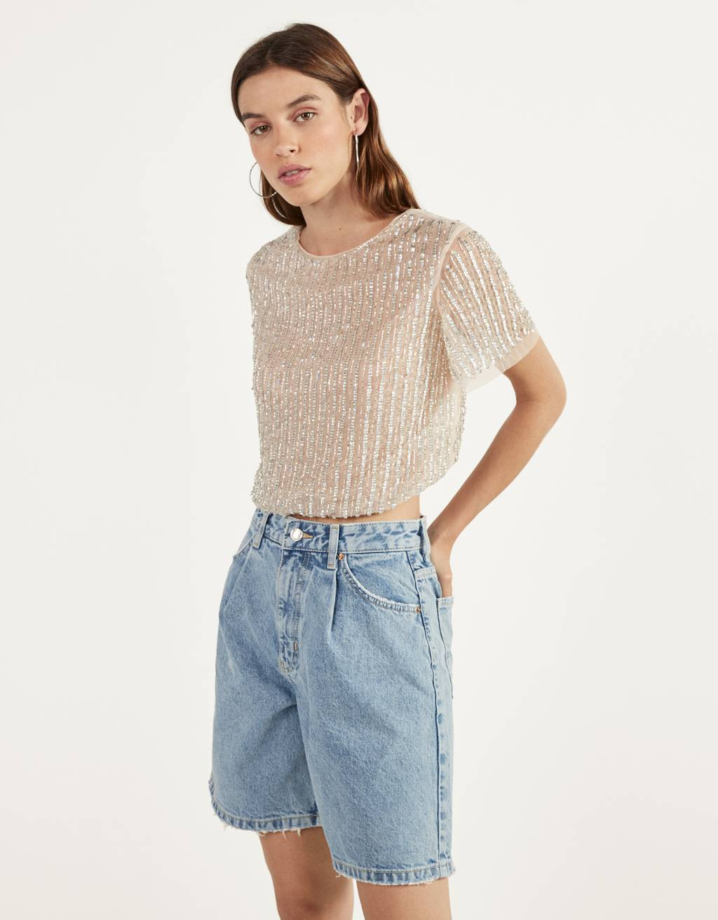 Sheer beaded T-shirt