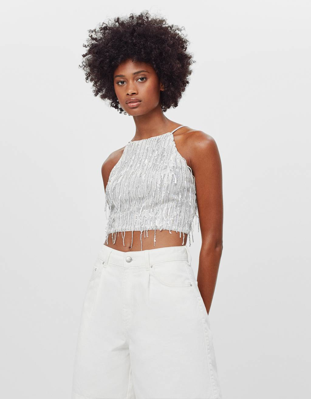 Sequinned top with fringing