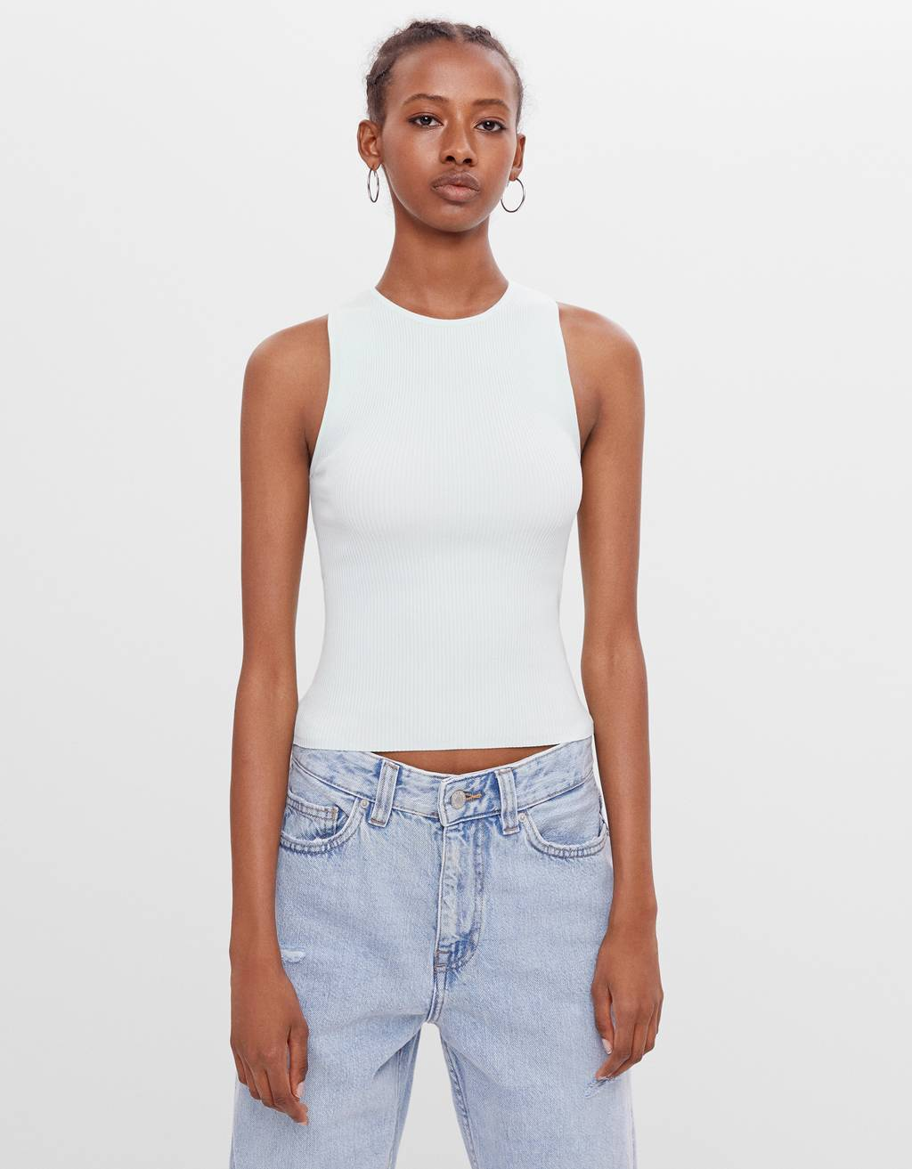 Sleeveless top with open back