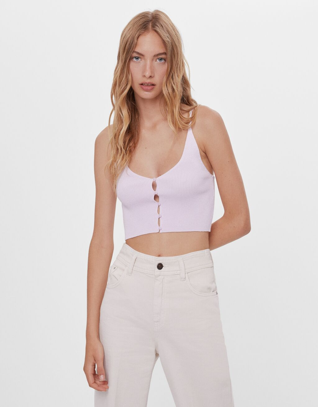 Strappy button-up top