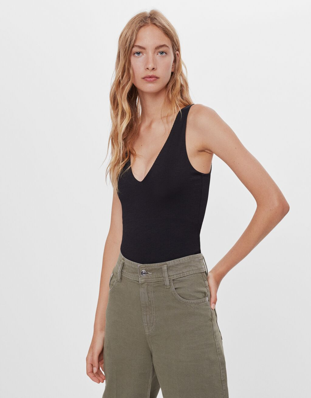 V-neck bodysuit with straps