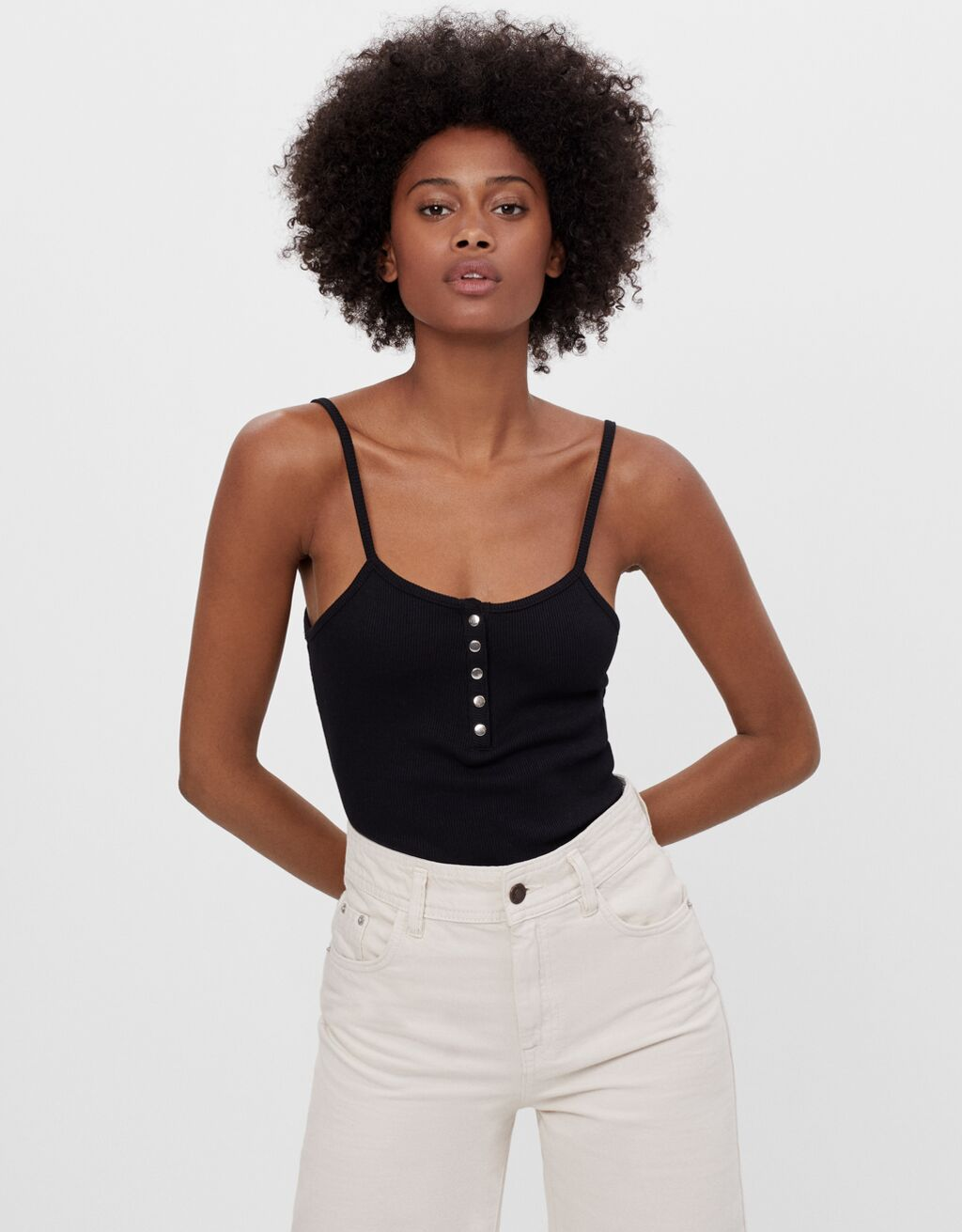 Strappy bodysuit with buttons