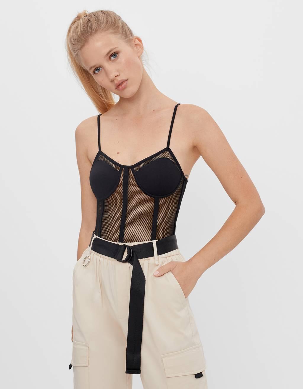 Mesh corset-style bodysuit