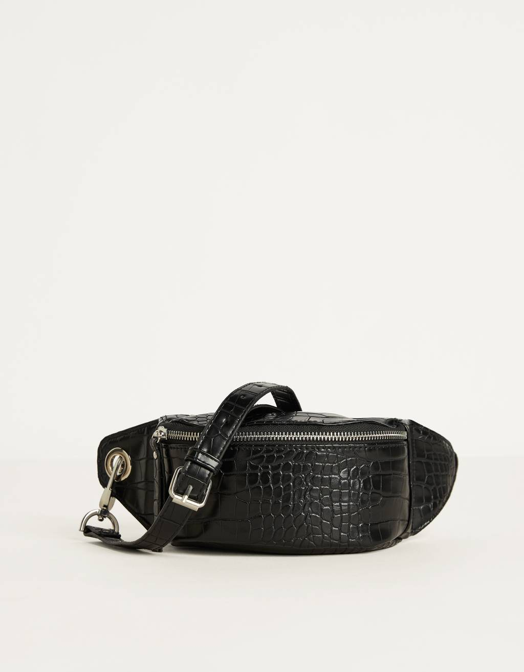 Mock croc faux leather belt bag