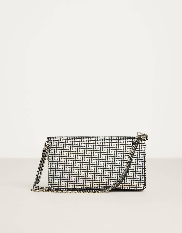 Iridescent silver handbag