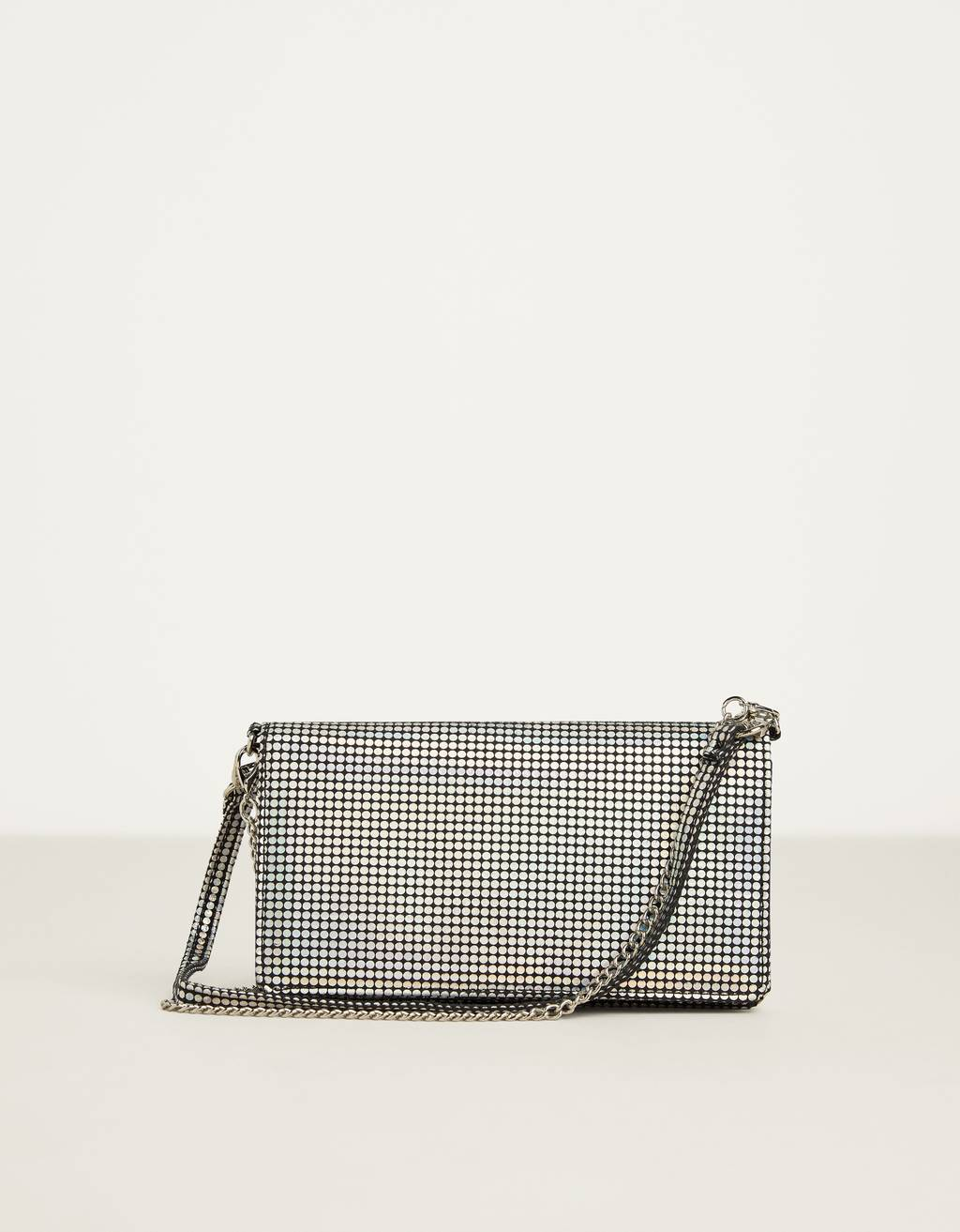Iridescent silver handbag