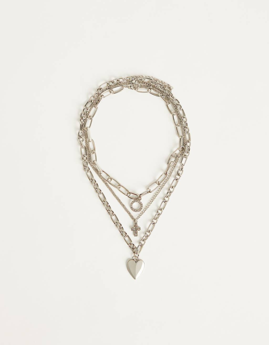 Set of necklaces with heart
