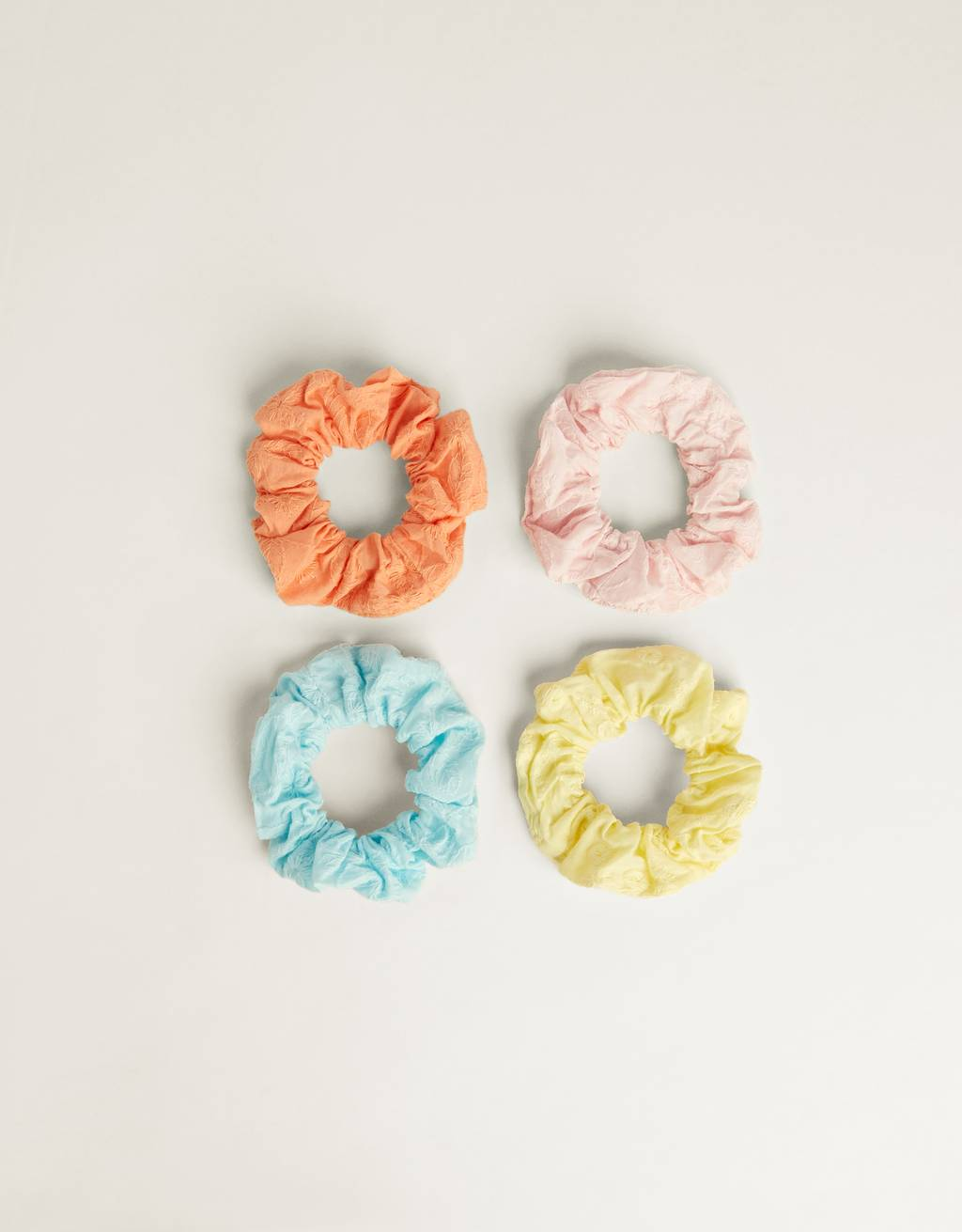 Pack of embroidered scrunchies