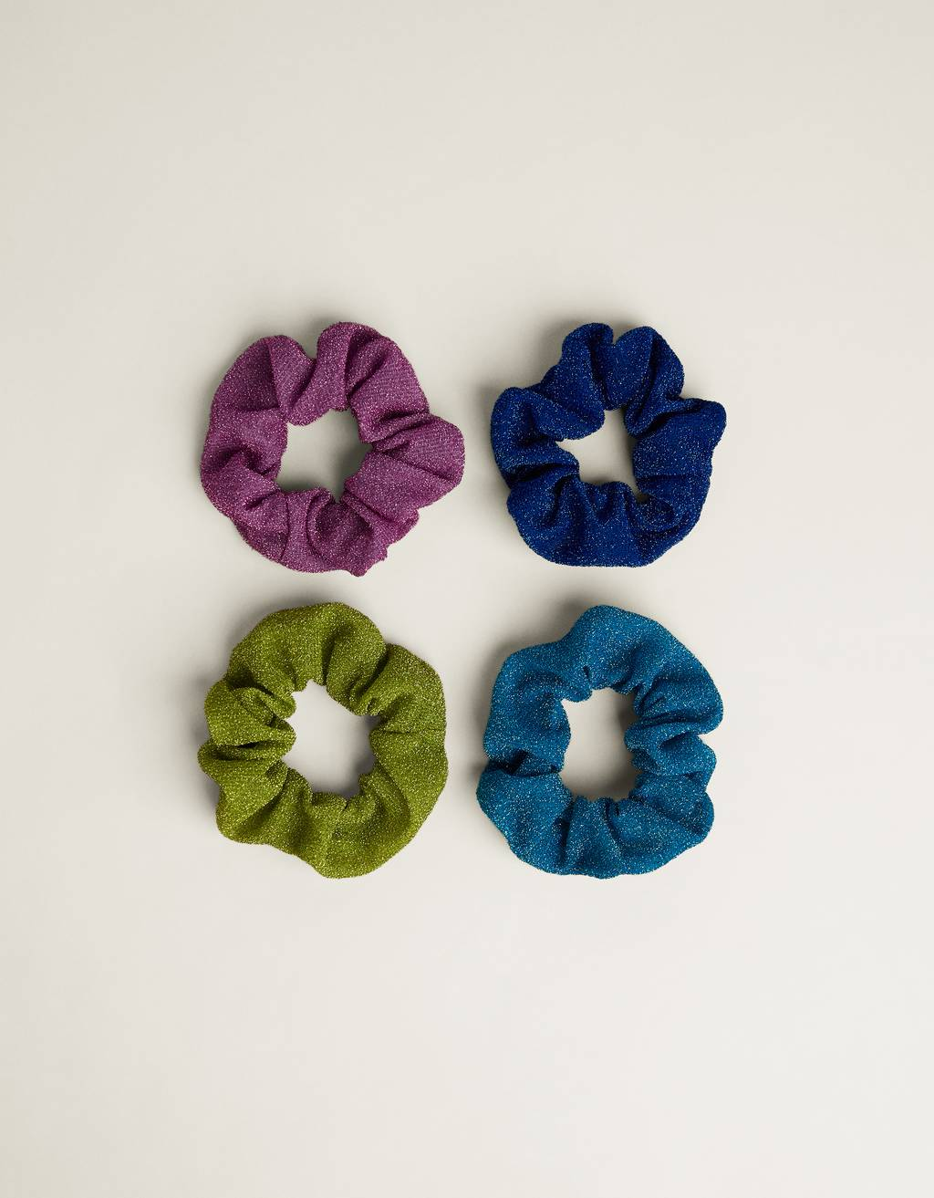 Pack of glittery hair scrunchies