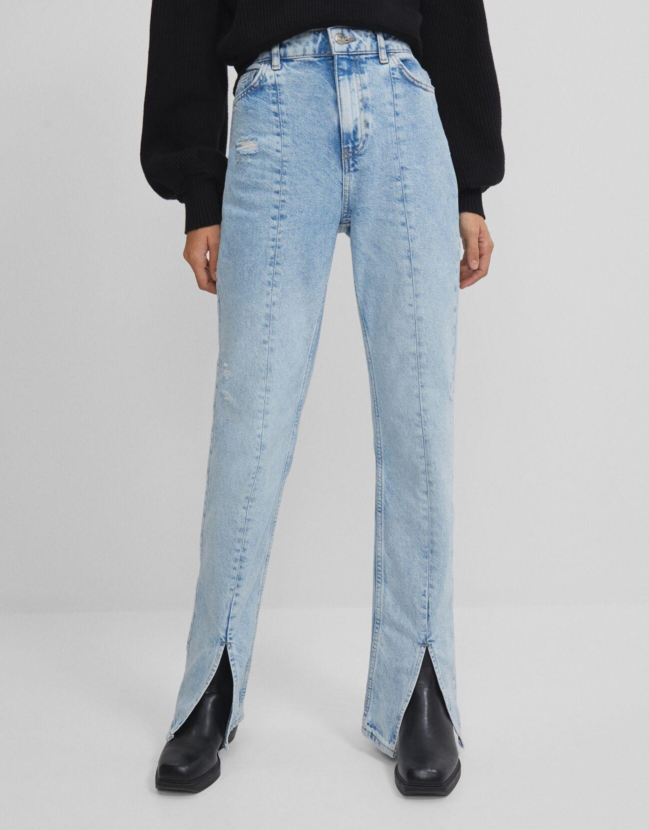 bershka -  Jeans Mit Schlitz Am Saum Damen 38 Ausgewaschenes Blau
