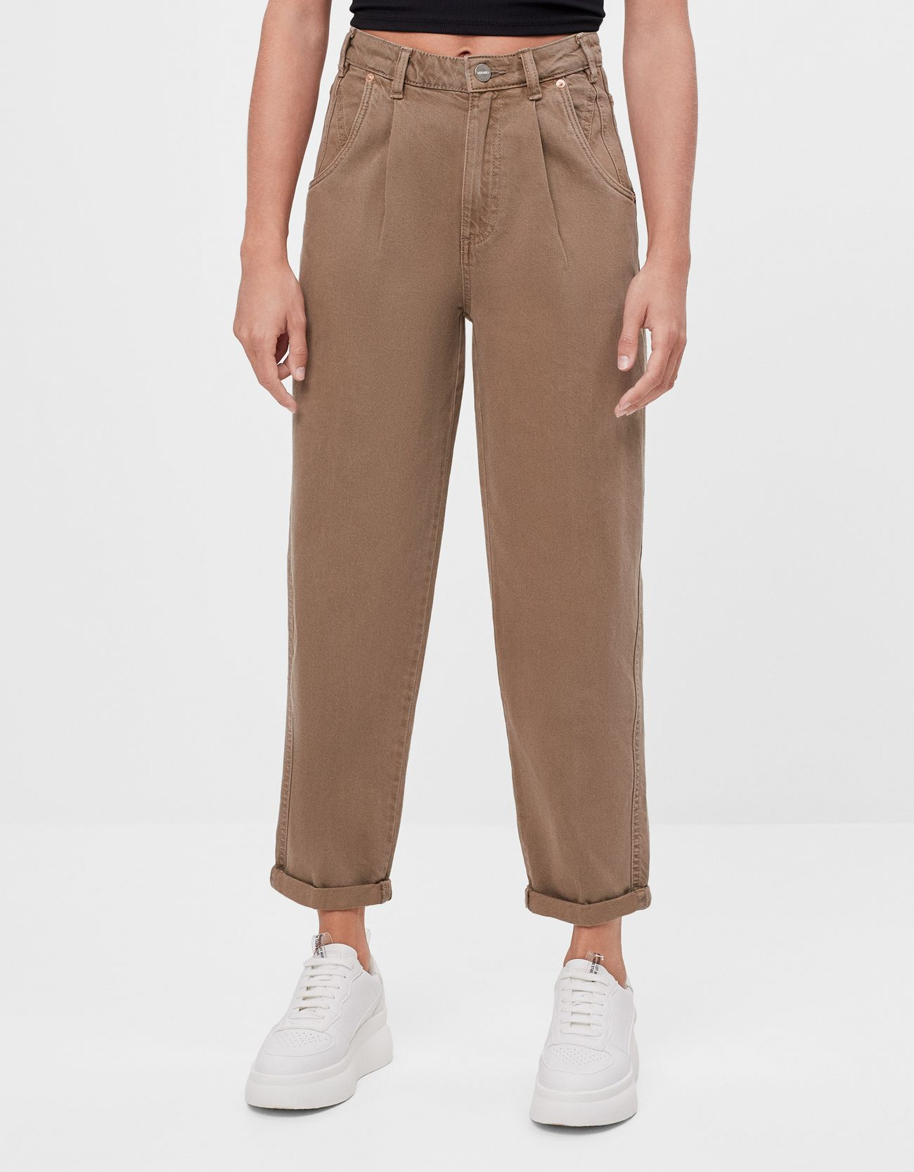Slouchy trousers with turn-up hems
