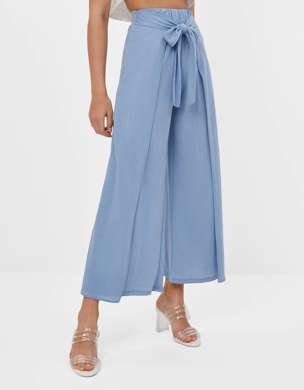 Culotte trousers with tie waist