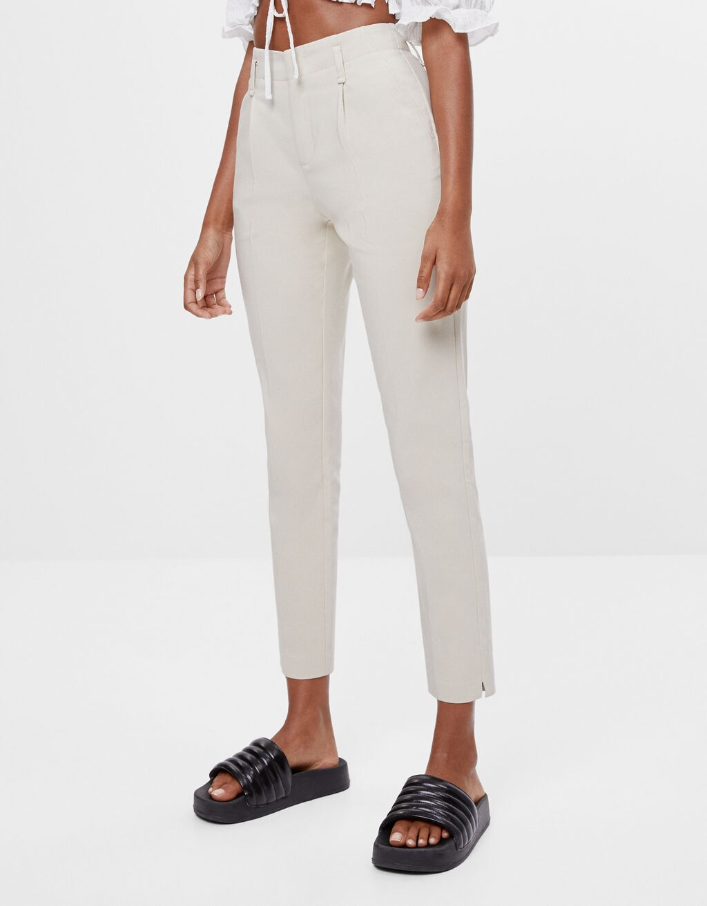 Darted chino trousers