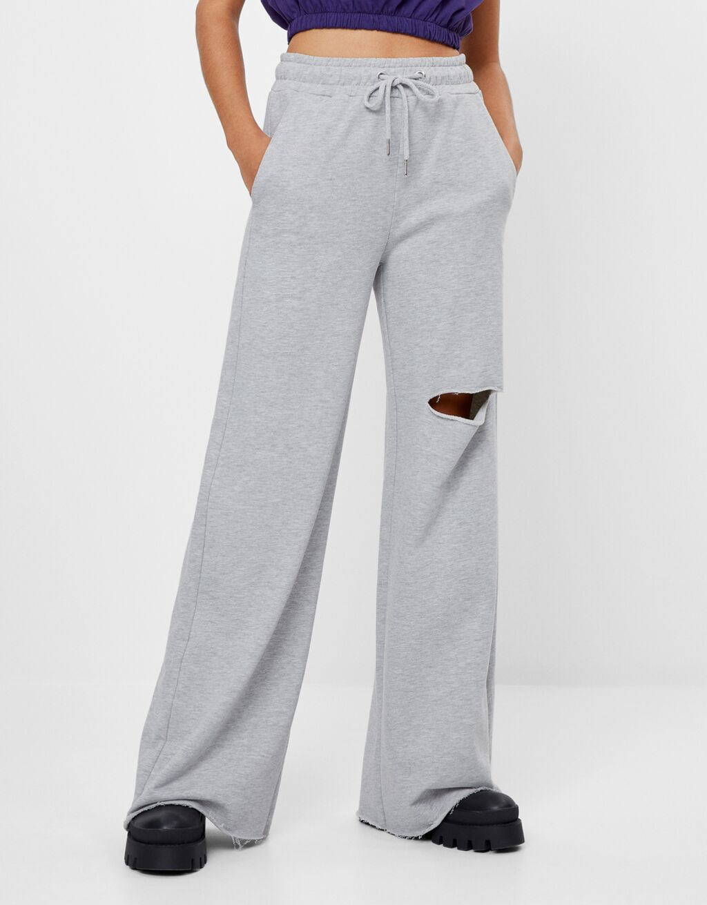 Plush flared trousers