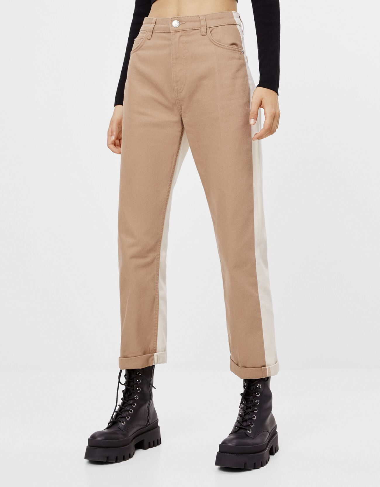 Straight contrast trousers