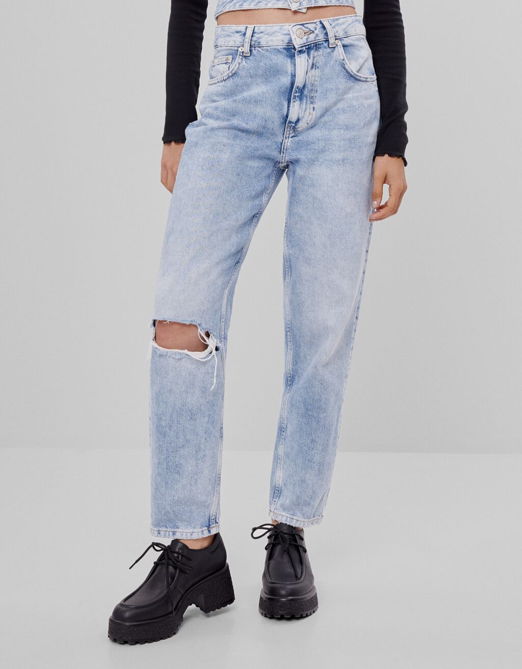 Double-waist mom jeans
