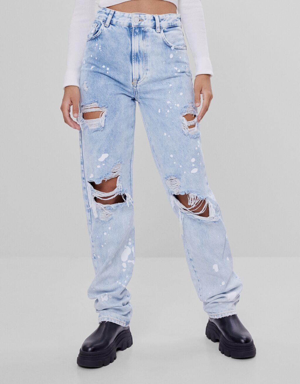 Jeans straight slavati strappi