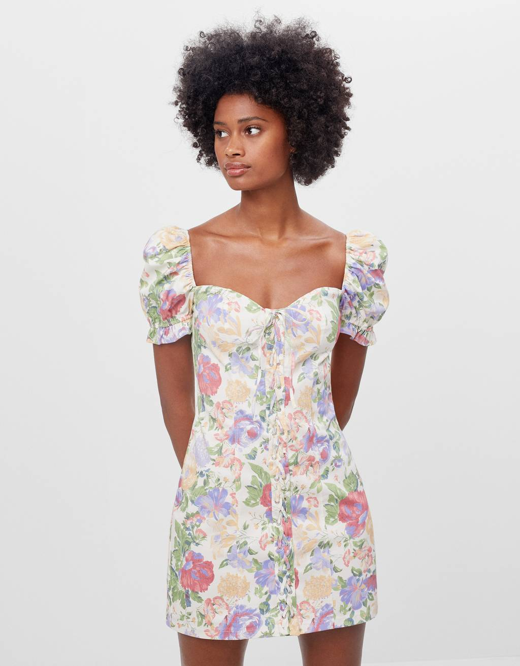 Floral print dress with ties